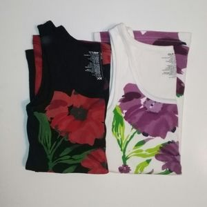 Old Navy ribbed cotton floral tank tops (set of 2)